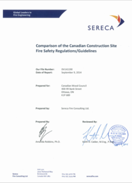 Comparison of the Canadian Construction Site Fire Safety Regulations/Guidelines